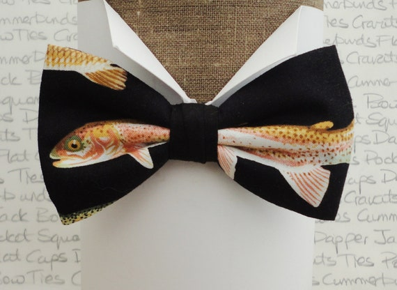 Fish print bow tie, bow ties for men, fishing bow tie