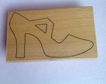 Large Shoe Wood Mounted Rubber Stamp