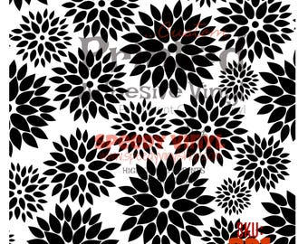 "BD1: Black on White Dahlia Printed Adhesive 12""x12"" Vinyl BD1 Craft Vinyl for Cricut Cameo Silhouette 651 Equivalent"