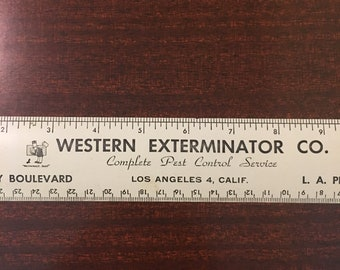 1950's Metal Ruler | Weatern Exterminator Co | Vintage CA Advertisment