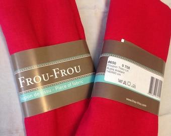 Bright Ruby color linen fabric