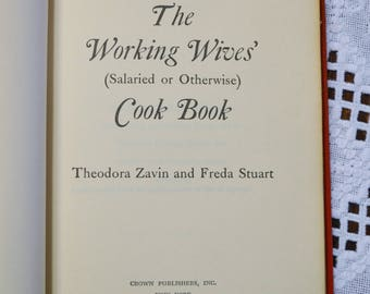 The Working Wives Cookbook Zavin and Stuart 1963 Recipe Book Collectible Vintage Book PanchosPorch