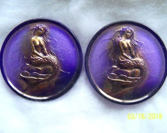 Czech  Glass Exclusive  Buttons  2 pcs    MERMAID  24K Gold   41mm     IVA EX 005
