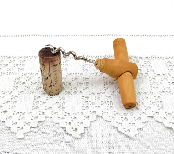Antique French Wooden and Metal Folding Pocket Cork Screw, Vintage Camping / Glamping Wine Bottle Equipment, Retro Romantic Picnic Utensil