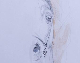 Arabian horse, equine art, horse portrait, cheval, equestrian, original pencil drawing