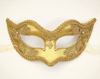 Gold Applique Embroidery Covered Masquerade Mask -  Venetian Style Halloween Mask - For Masquerade Ball, Prom, Costume Party, Wedding