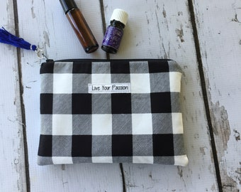 Essential Oil Travel Bag, Essential Oil Case, essential oil storage, Inspirational , Live Your Passion Roller bottle or 5ml holds 6-8)