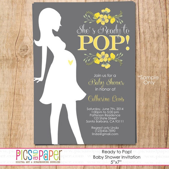Items Similar To Shes Ready To Pop Baby Shower Invitation With