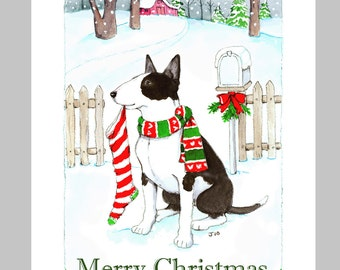 Bull Terrier Christmas Cards, Box of 16