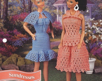 Annie's Fashion Doll Crochet Club Pattern for 2 Crochet Outfits for Barbie  SUNDRESSES  Designed by Vaunda Fisher & Ann Parnell  NEW Pattern