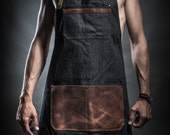 Denim apron with leather pockets and military belts by Kruk Garage Work apron Barista apron Barber apron Christmas gift FREE PERSONALIZATION