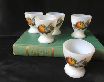Vintage 5 Arcopal Milk Glass Egg Cups, Decorated With Peaches, Made in France, Shabby Chic Country Kitchen Glass Egg Cups