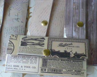 Budget, Envelopes, Mens Wallet, Cash Envelope Wallet, Minimalist Wallet, Slim Wallet, Snap Wallet, Vinyl Wallet, 7 Inch, Hand Stitched