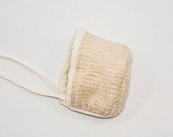 Neutral Gender Reversible Knit/Sherpa Baby Bonnet