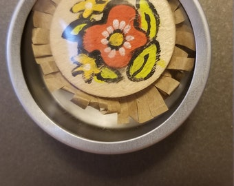 Hand painted flower magnets
