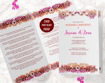 Editable Indian Wedding Program, Printable Wedding Bi Fold, Hindu Wedding Ceremony Program, Edit Yourself PDF | JASMINE.W