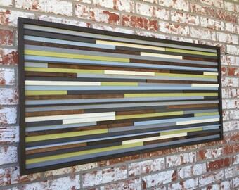 Wood Wall Art - Reclaimed Wood Art Sculpture - Modern Wall Art/Abstract Painting on Wood - 3D Art -48x24