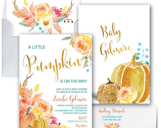 Featured listing image: Pumpkin Baby Shower Invitation // A little pumpkin is on the way // Fall Baby Shower Invitation // Gold Foil // CAPE BRETON COLLECTION
