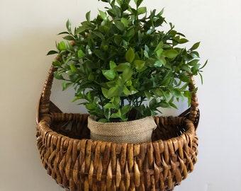 Vintage wall basket, wicker hanging basket, boho wall basket