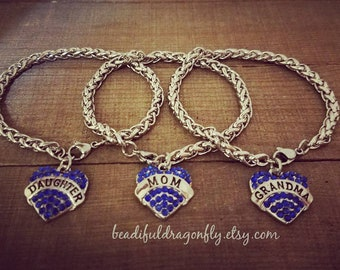 Silver Daughter,  Mom or Grandma Bracelets with  Heart-Shaped. Sapphire Blue  Pendant.