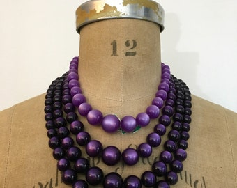 1950s 1960s Purple Moonglow 4 Strand Bead Necklace 50s 60s