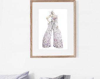 Fashion Illustration, Watercolor Print, Archival Giclee, Spiritual Wall Decor, Couture Fashion Art, Fashion Decor - Transcendence