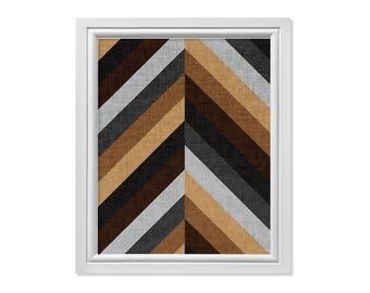 Chevron Wall Art, Chevron Print, Geometric Modern Wall Art, Geometric Printable, Modern Art, Modern Contemporary, Black Brown Digital Print