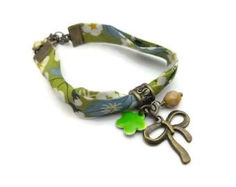 Bronze floral liberty fabric bracelet