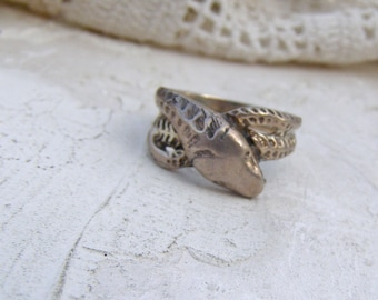 Sterling Silver Snake Ring, Vintage Serpent Ring, Snake Jewelry, Size 7 Ring, Cobra Ring