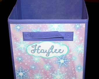 Snowflake Pink and Aqua Fabric Bin Girl's Personalized Bedroom Baby Nursery Organizer for Toys or Clothing FB0025