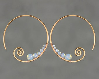 Opalite copper wiring scroll hoop earring handmade US freeshipping Anni Designs