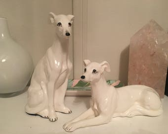 Vintage Greyhound Figurines Ceramic Greyhounds White Whippet Figurines White Porcelain Dogs Blanc de Chine Dogs Italian Greyhound Whippet