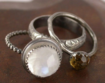 Moonstone Ring Sterling Silver - Stacking Rings - Engagement - Wedding - Birthstone - Made to Order