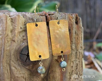 Bronze Earrings with African Turquoise, Big Bold Flashy, dangle, drop, evening, beach