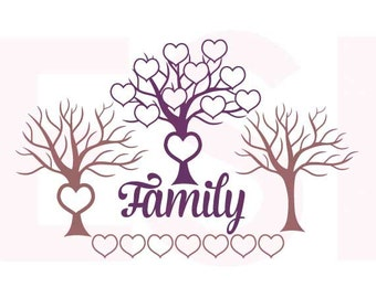 Family Tree SVG,DXF ,EPS, cutting files for use with Silhouette and Cricut Explore Machines. Heart, Family, Love.