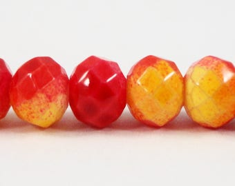 "Faceted Glass Rondelle Beads, 6x4mm (4x6mm) Painted Red and Yellow Crystal Beads, Opaque Chinese Crystal Beads on a 9"" Strand with 50 Beads"