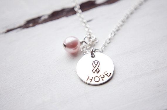 Sterling Silver Hope Necklace   Cancer Awareness  Survivor Fighter Ribbon Breast Lung Brain Ovarian Pancreatic Prostate Bladder Rectal Colon