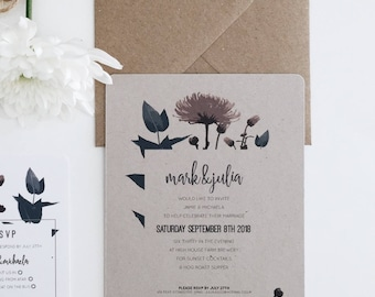 The Garden || Evening Invitation, Handmade Rustic Wedding Invitation Suite, Romantic Floral Wedding Invite Package, Blush Floral