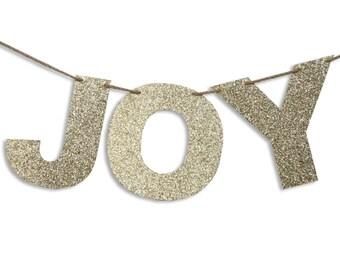 JOY Garland, JOY Banner, Holiday Banner, Christmas decoration, JOY Glitter Garland