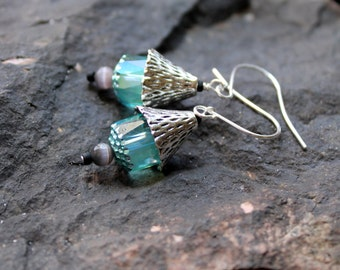 mint lanterns / earrings /  teal cathedral and cats eye glass earrings/  FREE domestic SHIPPING / asian modern silver cone green grey