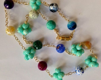 African Amazonite Statement Necklace Long, Crackled Fire Agate, 14K Gold Filled Chain, Magnetic Clasp, Wire Wrapped