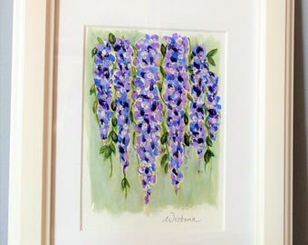 Wisteria Original Abstract Acrylic Painting | Wisteria Art | Small acrylic floral on canvas  | floral wall art | Painting for Mothers Day