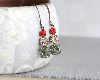 Vintage Glass Drop Earrings Small Jewel Earrings Womens Gift Lightweight Red Hyacinth Nickel Free Light Peach Earrings Black Diamond Jewel
