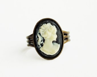 Black Cameo Ring Victorian Ring Vintage Cameo Jewelry Adjustable Portrait Silhouette Ring Victorian Jewelry