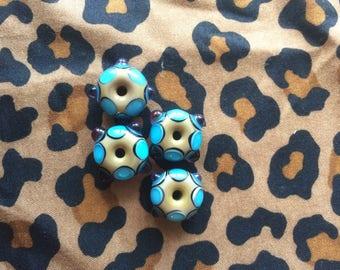 Handmade Glass Bead Set Lampwork Beads Set of Four Blues on Beige