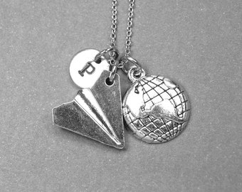 Paper airplane necklace, paper plane necklace, pilot charm, earth necklace, planet necklace, world charm, personalized, initial necklace