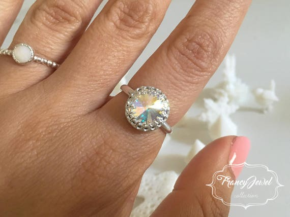Bridal ring, engagement ring, sterling silver ring, Swarovski Rainbow, made in Italy, birthday gifts, wedding gift