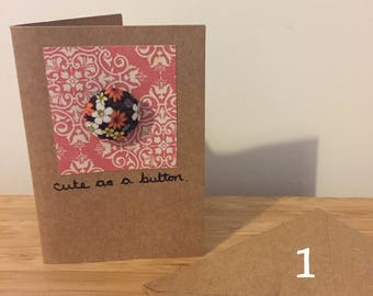 SALE!!! 'Cute as a button' Greetings cards