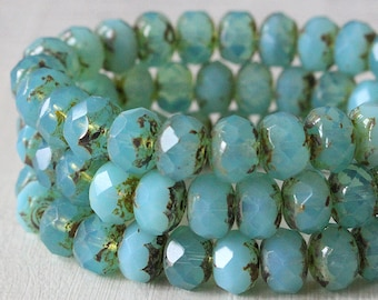 9x6mm Rondelle Beads - Czech Glass Beads - Jewelry Making - Aqua Opaline - (10 or 25 bead strand)