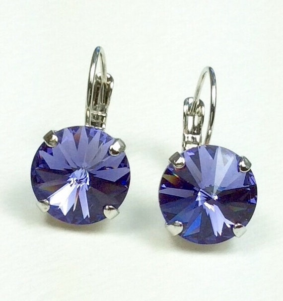 Swarovski Crystal 12MM Drop Earrings Classy & Feminine - Tanzanite - Or Choose Your Favorite Color and Finish - FREE SHIPPING